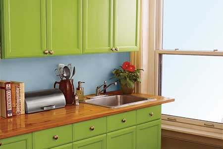 This Is A Great Way To Make Kitchen Feel Totally New By Painting Your Cabinet Doors Bright Color Green Paint Makes Even The