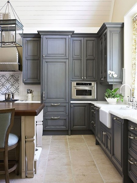 Are Bright, Colorful Kitchen Cabinet Doors Too Bold For You And Your Home?  Why Not Go With A Darker Color. These Grey Kitchen Cabinet Doors Are Very  ...